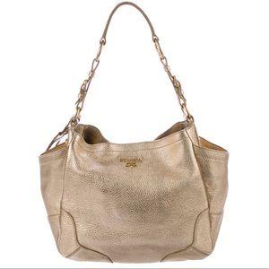PRADA Daino Vitello Leather Hobo Shoulder Bag
